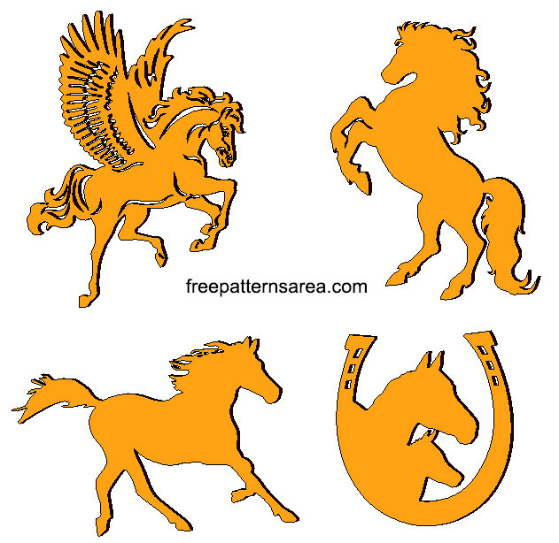 Wood And Metal Horse Plasma Laser Cut Designs