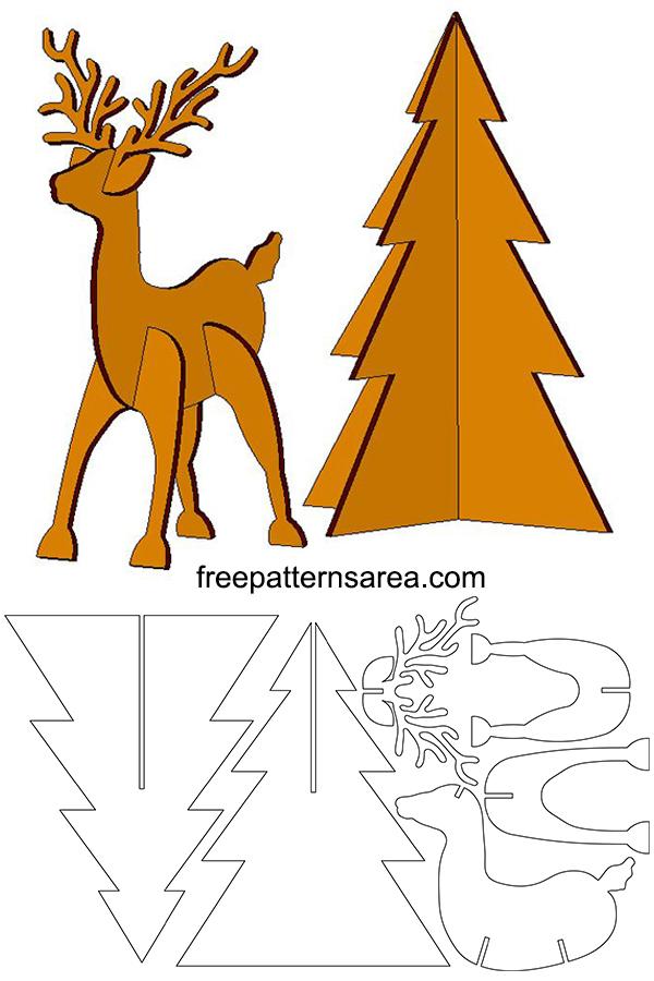 3D Deer Puzzle Craft Idea, Cardboard Animal Template