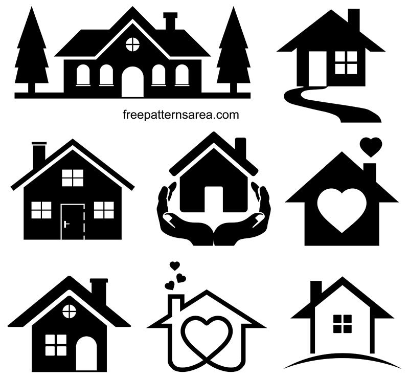 House Silhouette Clipart Vector Illustrations