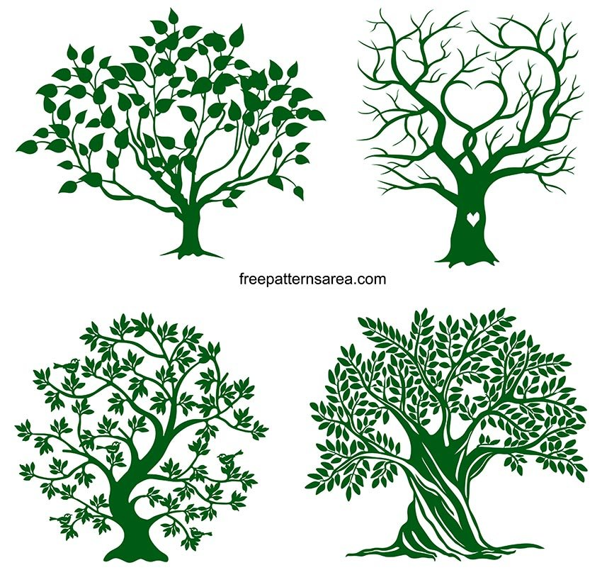 Tree Clipart Silhouette SVG Files Free