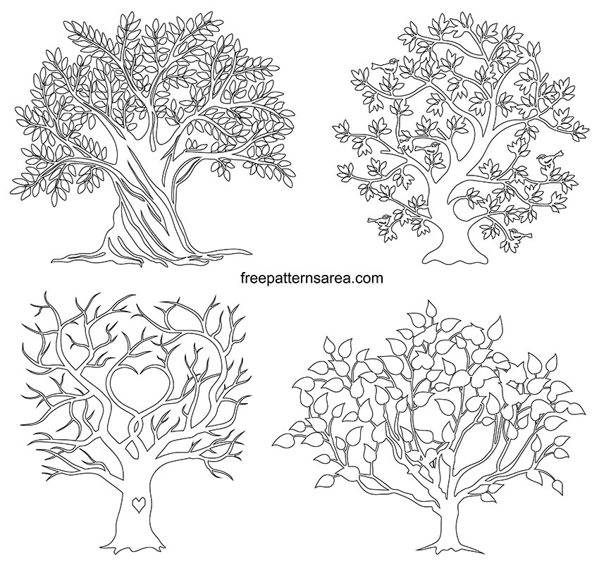 Tree Outline Image Template Drawings