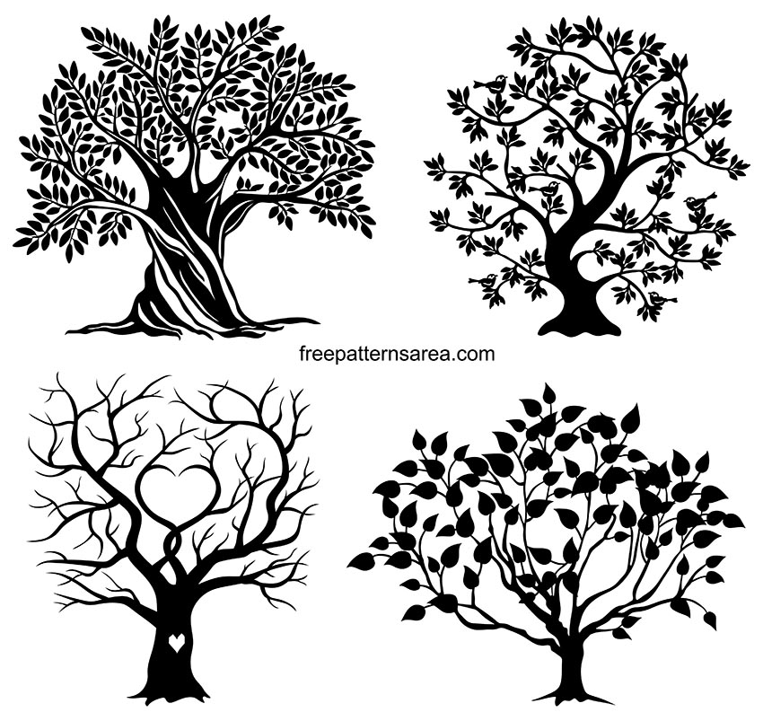 Trees Vector Artwork, Printable Black And White Graphics