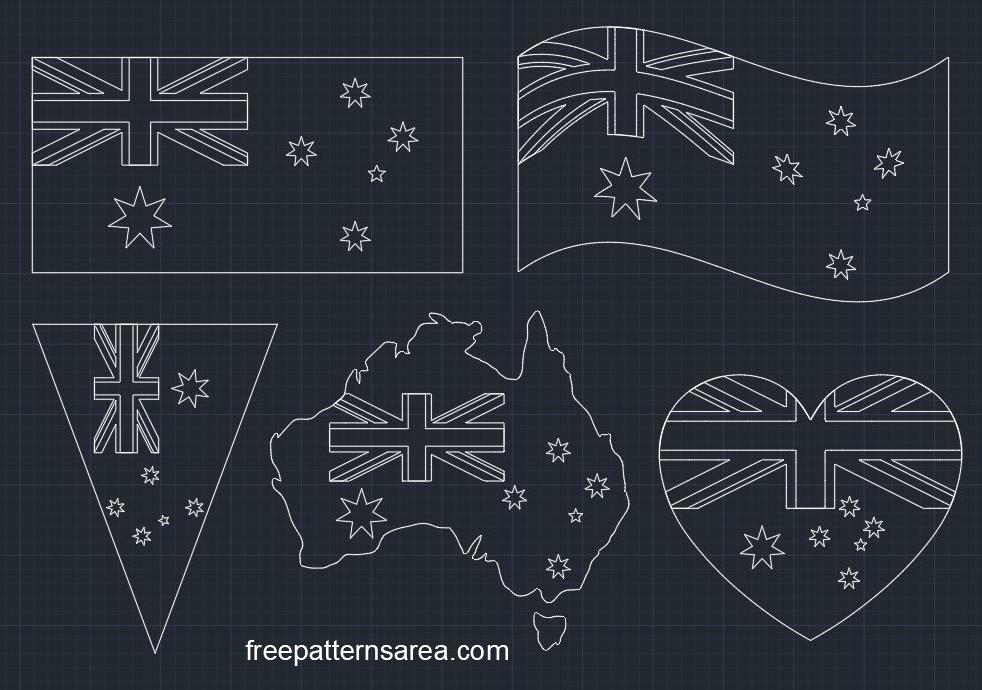 Australia Flag Autocad DWG CAD File