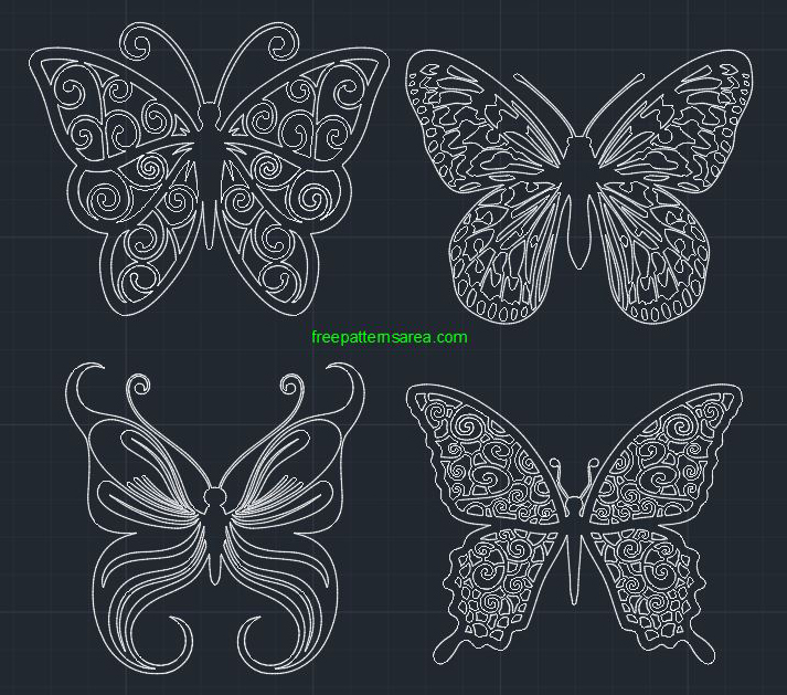 Butterfly Autocad Art Drawing Dwg CAD Files