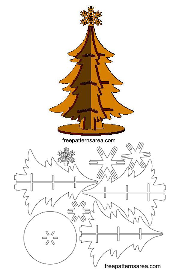 Laser Cut 3D Wooden Christmas Tree Craft Idea