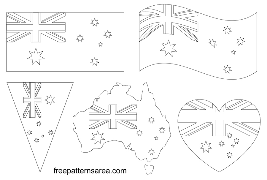 Printable Australia Flag Outline Pdf Template