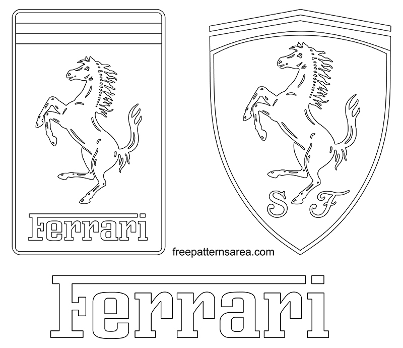 Printable Ferrari Logo Outline Template Drawings