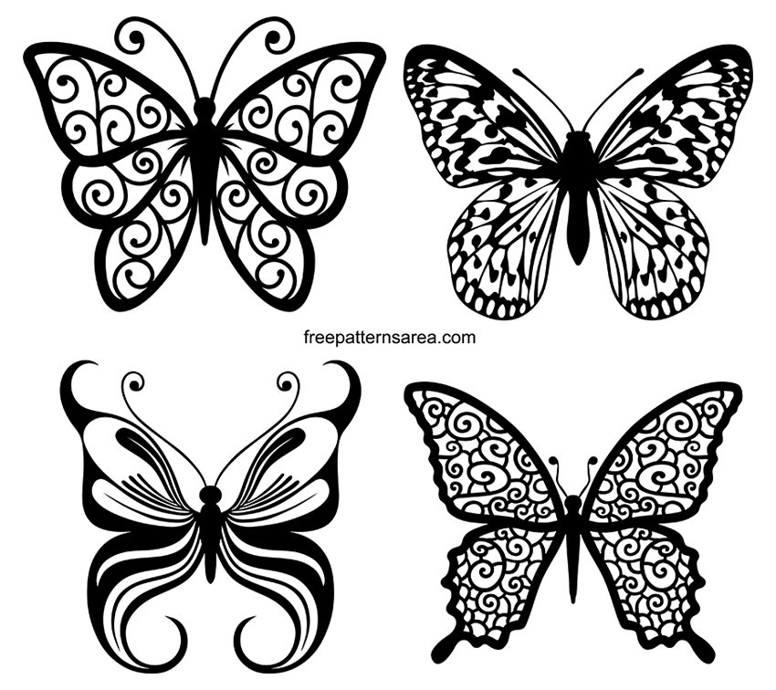 Silhouette Butterfly Illustration Vector Designs