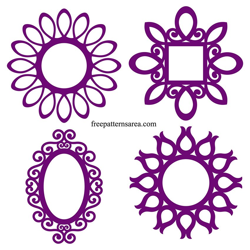 Silhouette Ornate Oval Frame Free SVG Cut File