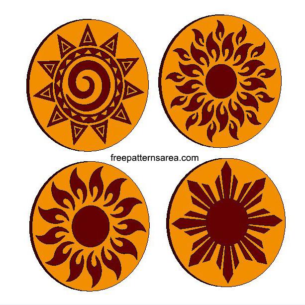Laser Sun Simple Engraving Patterns