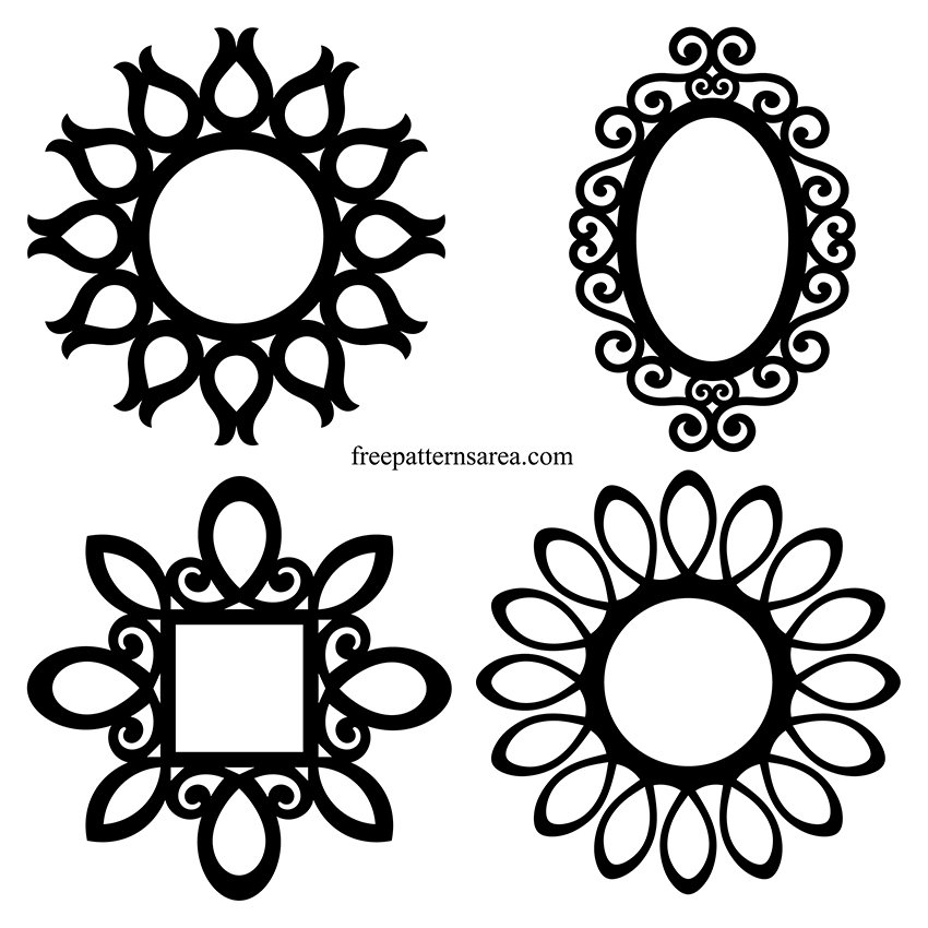 Round Tulip Wall Mirror Frame Vector