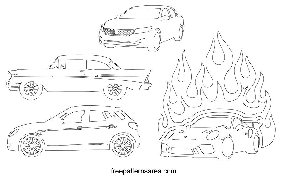Printable Cars Outline Templates