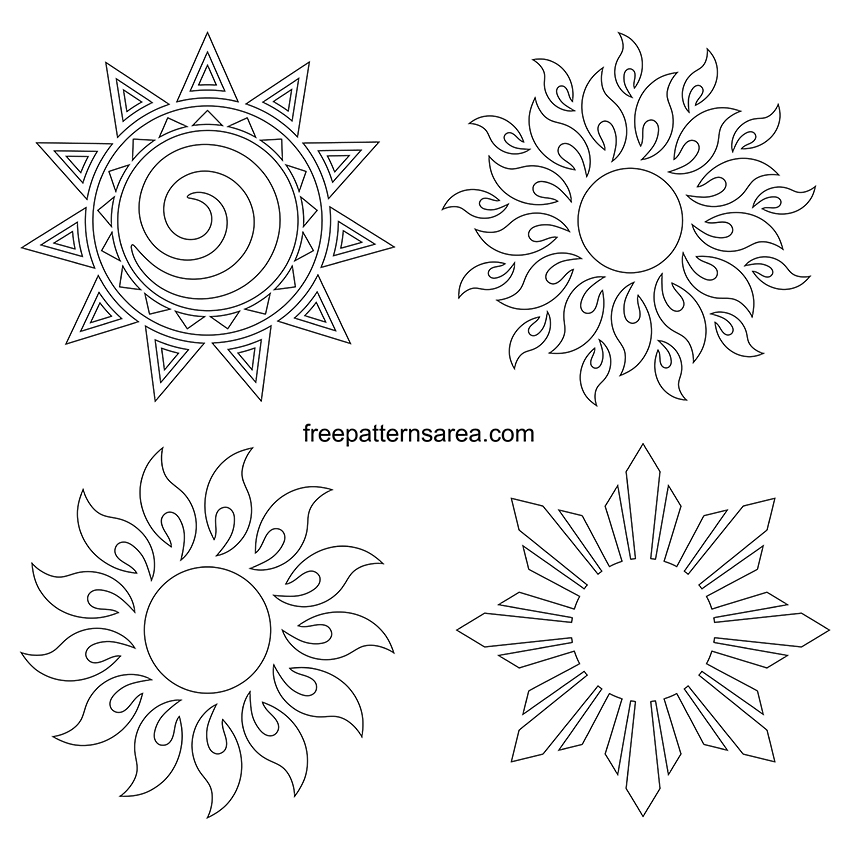 Printable Outline Sun Template Drawings