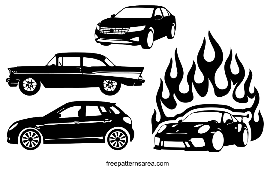 Silhouette Car Vector, Black And White Car Cliparts