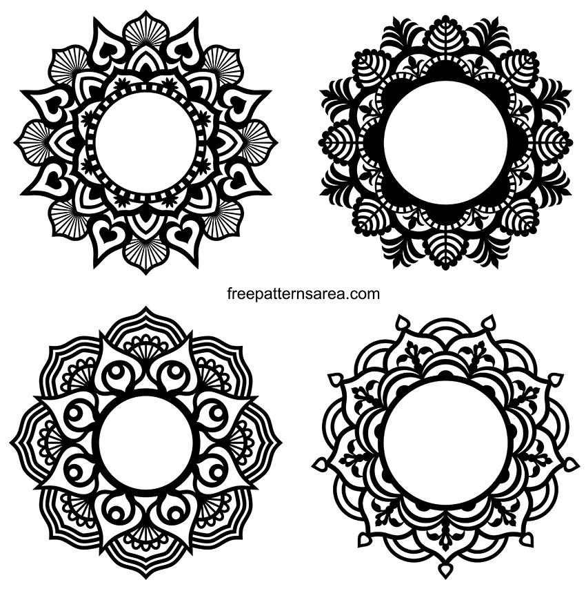 Circle Mandala Border Frame Silhouette Designs