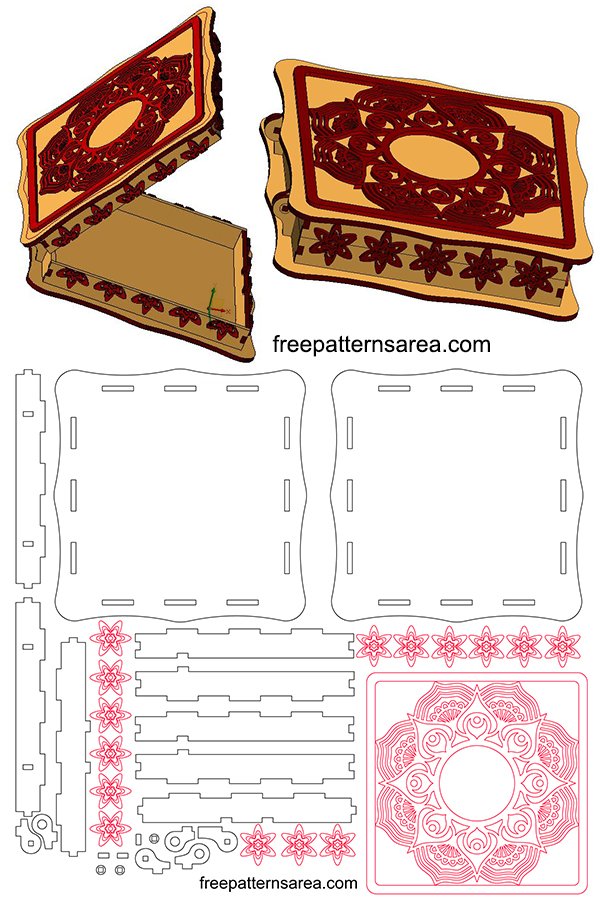 Laser Cut Wood Jewellery Set Box With Lid Template