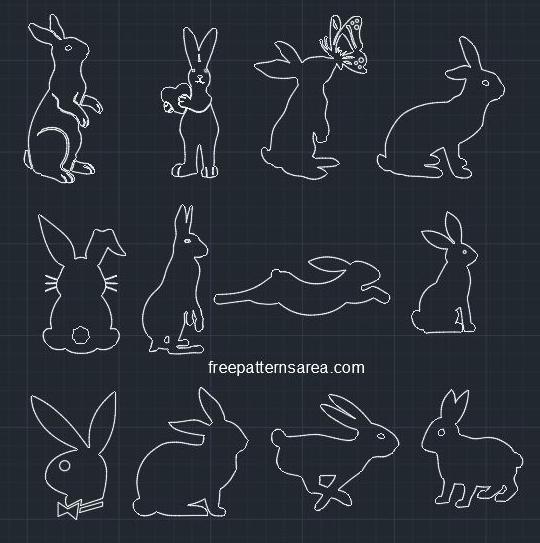 Rabbit Autocad DWG file CAD Block