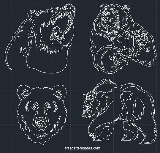 Grizzly Bear Autocad Dwg Cad Block File