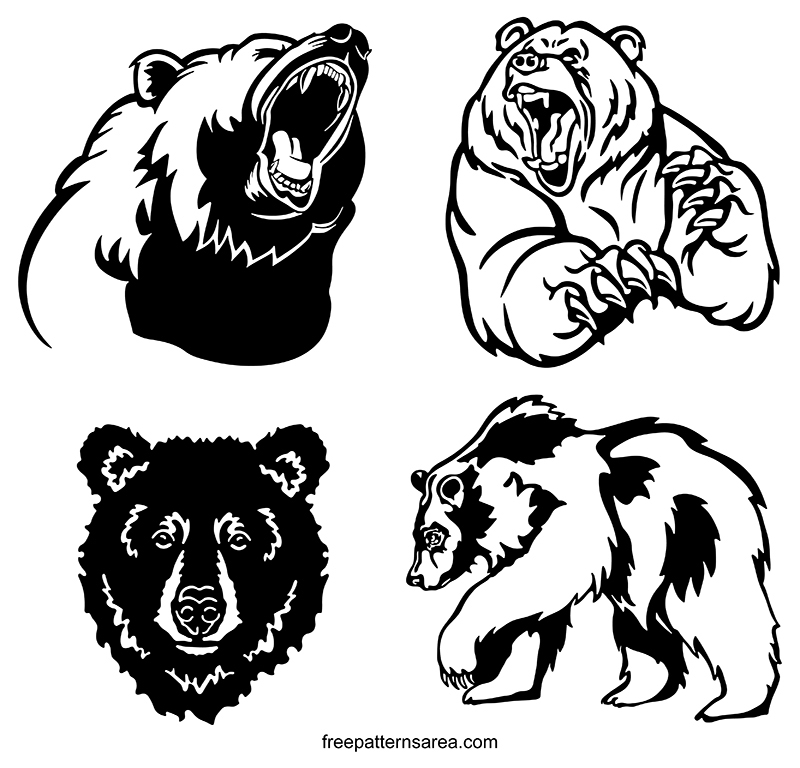 Grizzly Bear Silhouette Vector Designs