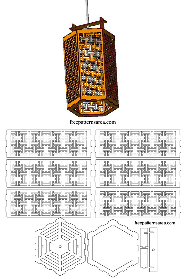 Hanging Lamp Shade Dxf Pattern File for Laser Cut