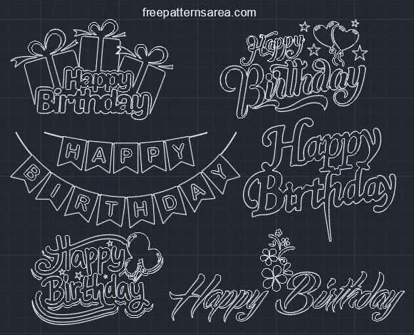 Happy Birthday Autocad DWG CAD Block File
