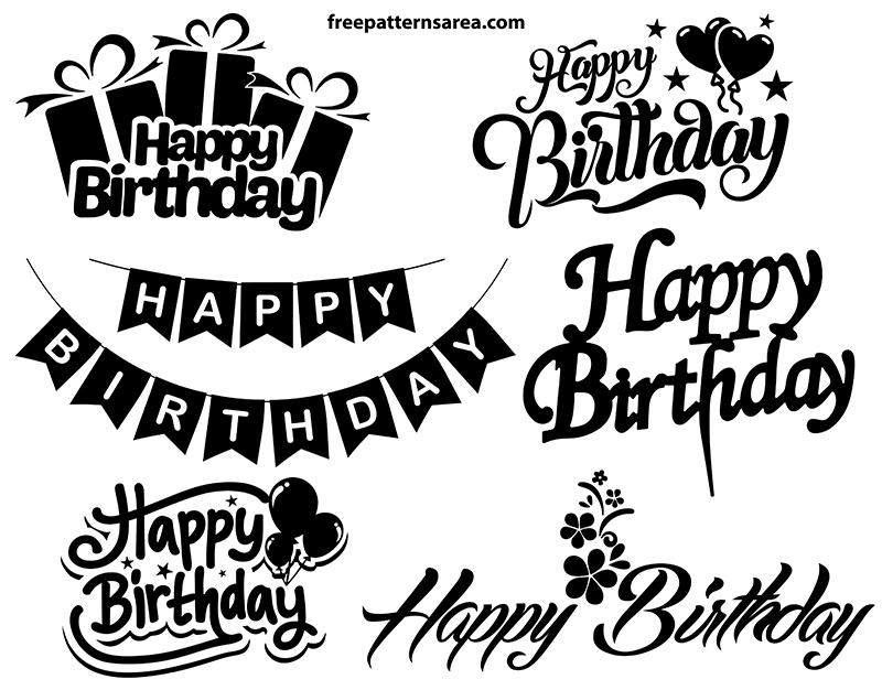 Happy Birthday Font Vector Designs