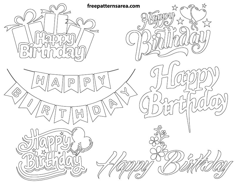 Printable Happy Birthday Outline Drawing
