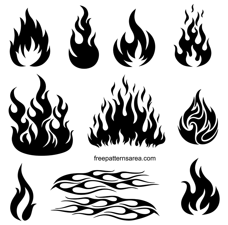 Fire Flame Shapes Stencil Vector Drawings