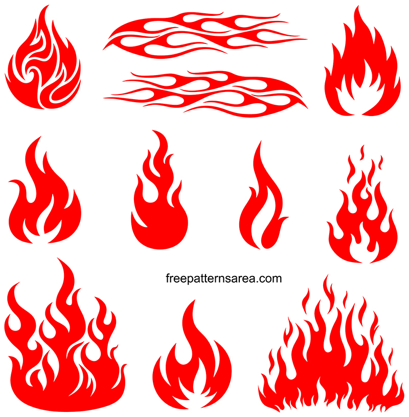 Fire Flame Silhouette Svg and Dxf Files