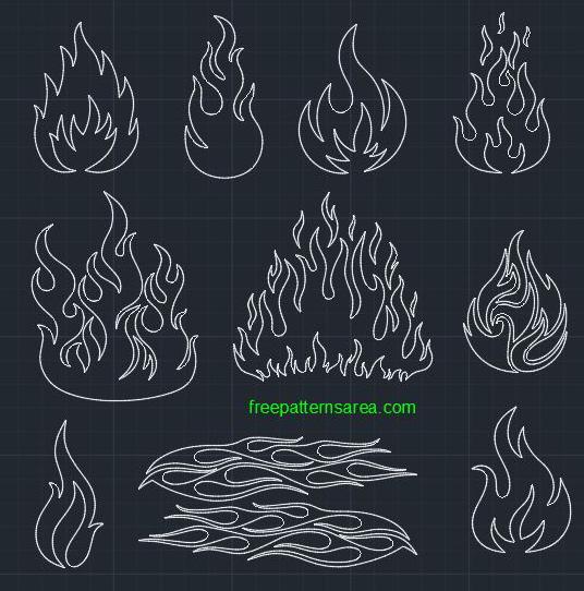 Fire Flames Autocad Dwg CAD Block File