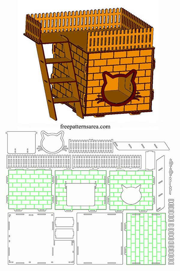 Free Download Laser Cut Cat House Design Plan