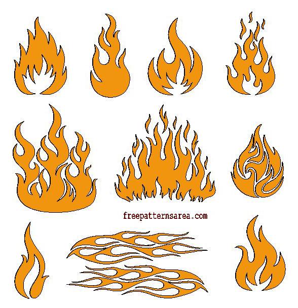 Laser Cut Fire Flame Cutout Cut File