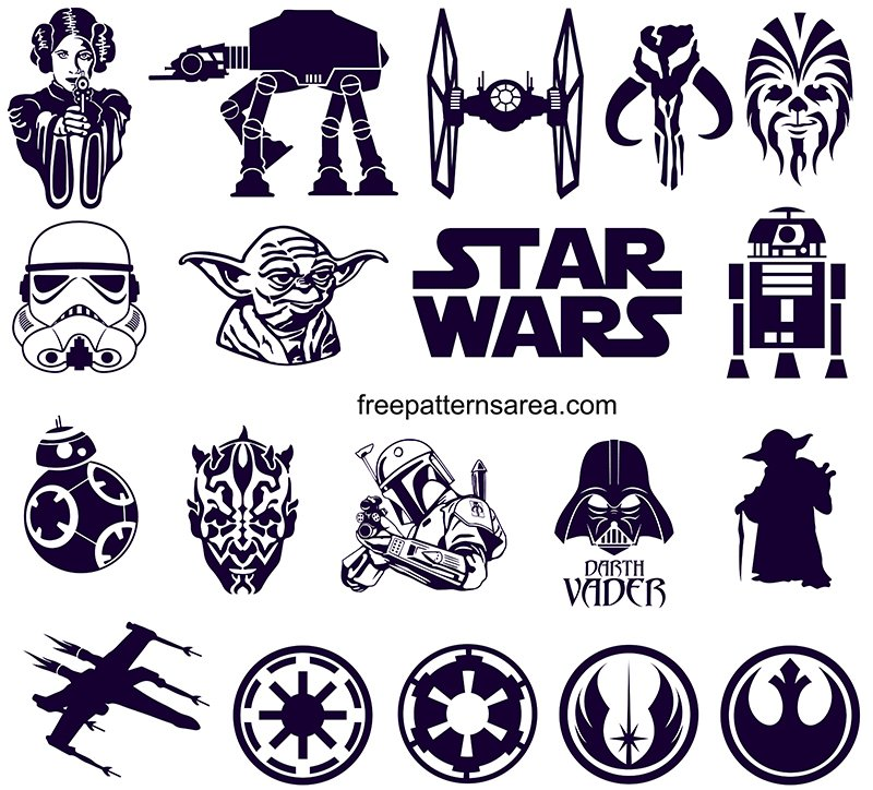 Star Wars Silhouette SVG And DXF Images File Free