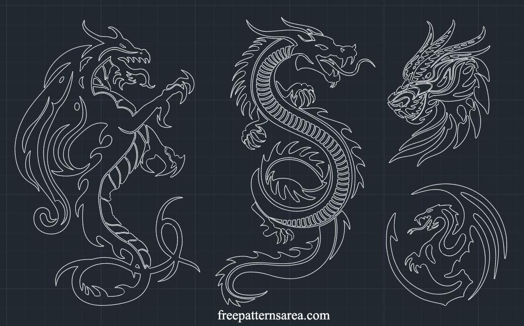 Dragon 2d Dwg Cad Block File Designs