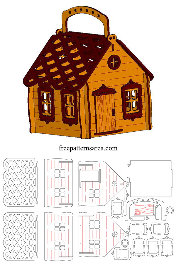 Laser Cut Woden Candy House Box Template With Lid
