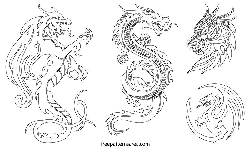 Printable Dragon Outline Template